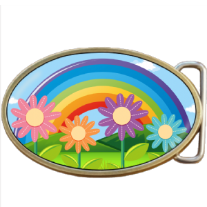 Rainbow and Flowers Belt Buckle. Code A0048